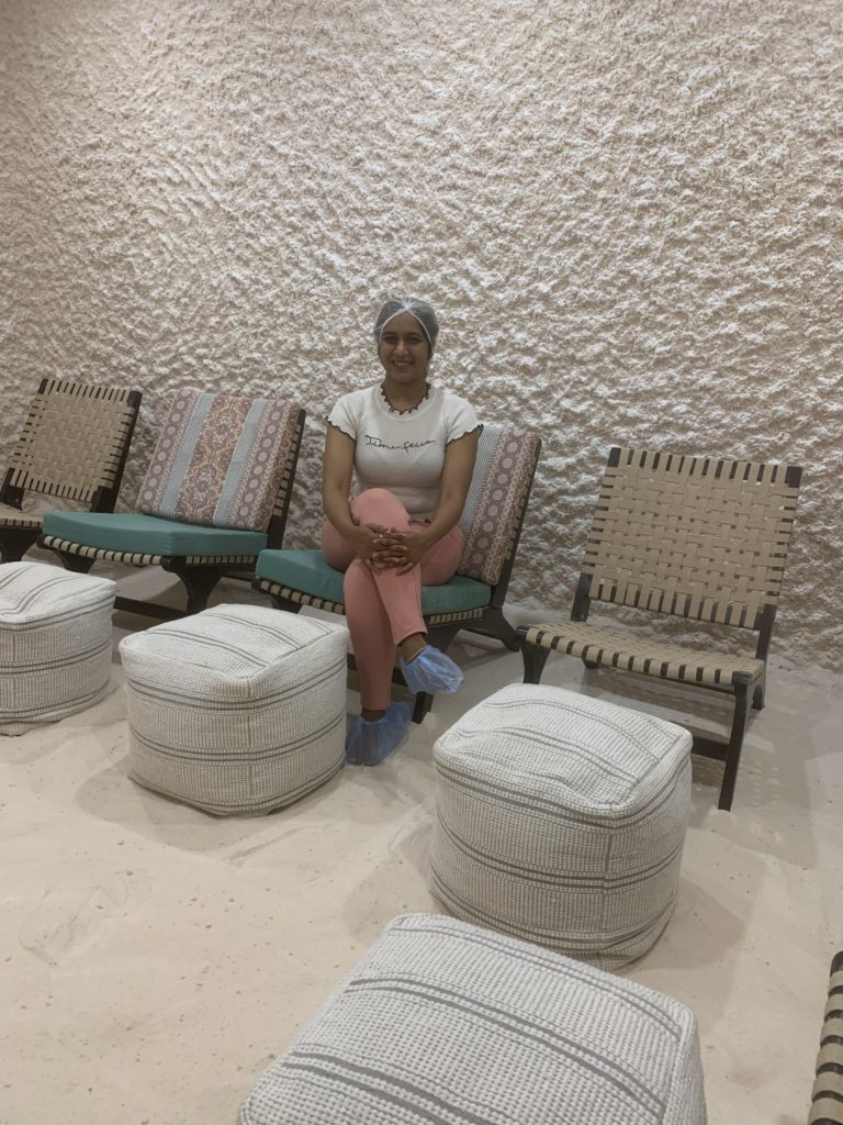 cleansing at the pink salt cave with himalayan pink salt lamps